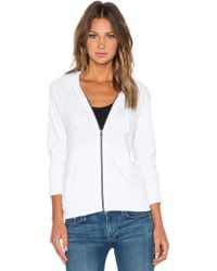 James Perse Classic Zip Up Hoodie white - Lyst