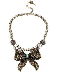 Betsey Johnson - Crystallized Vintage Bow Tworow Necklace - Lyst