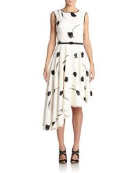 Oscar de la Renta Belted Stretch-Silk Asymmetrical Dress - Lyst