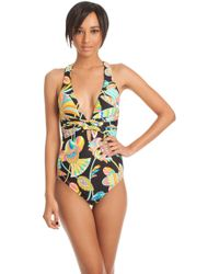 Trina Turk Tahitian Floral Twist Front One Piece multicolor - Lyst