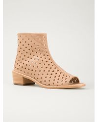 Loeffler Randall Perforated Ankle Boots - Lyst