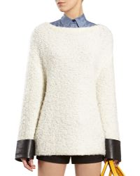 Gucci White Wool Blend Top with Leather Cuffs - Lyst