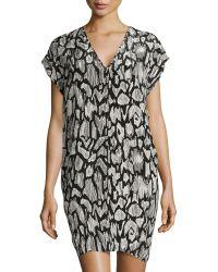 10 Crosby Derek Lam Brushed-Print V-Neck Dress - Lyst