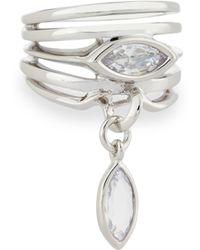 Eddie Borgo - Navette Crystal Charm Ring - Lyst