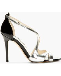 Brian Atwood Silver Patent Leather Heeled Sandals - Lyst