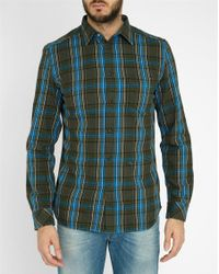 DIESEL | Blue And Green S-tokie Checked Pr Flannel Slim-fit Shirt | Lyst