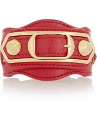 Balenciaga | Holiday Collection Textured-leather And Gold-tone Bracelet | Lyst