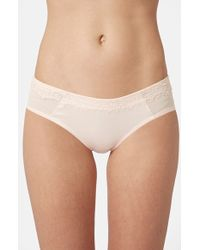 Topshop Satin & Lace Eyelash Briefs - Lyst