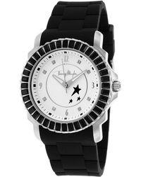 Thierry Mugler Women'S Black Rubber Black Crystal Encrusted Bezel White Dial black - Lyst