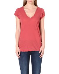James Perse Vneck Cotton Tshirt Faded Red - Lyst