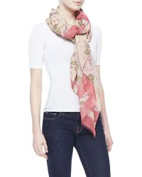 Donna Karan New York Printed Cotton-silk Scarf Rose Quartz - Lyst