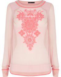 Karen Millen Silk Embroidered Top - Lyst
