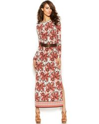 Michael Kors Michael Paisley-Print Belted Maxi Dress - Lyst