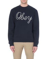 Obey Stanton Sweatshirt Navy - Lyst