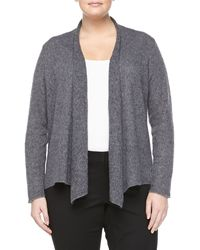Eileen Fisher Knit Draped Cardigan Ash Gray - Lyst
