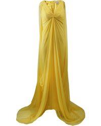 Pamella Roland Full Drape Chiffon Gown yellow - Lyst