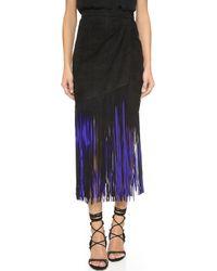 Tamara Mellon - Signature Fringe Skirt - Black/poison - Lyst
