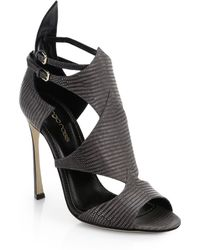 Sergio Rossi Patricia Lizard-Embossed Leather Sandals - Lyst