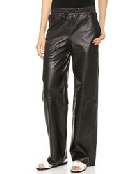 T By Alexander Wang Leather Palazzo Track Pants Black - Lyst