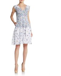 Betsey Johnson Sleeveless Floral-Print Lace Dress - Lyst