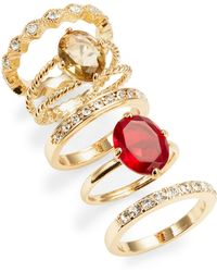 ABS By Allen Schwartz - Stone And Pave Ring Set - Lyst