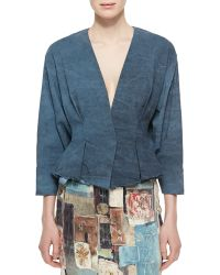 Donna Karan New York Tuck-Pleated Peplum Jacket - Lyst