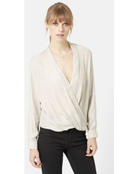 Topshop Long Sleeve Surplice Blouse gray - Lyst