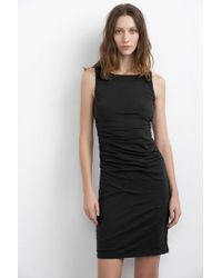 Velvet By Graham & Spencer Miley Gauzy Whisper Shirred Tank Dress black - Lyst