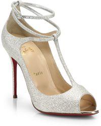 Christian Louboutin Talitha Glitter T-Strap Pumps silver - Lyst