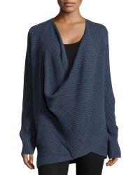 Donna Karan New York Ribbed Cross-front Sweater - Lyst