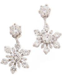 Kenneth Jay Lane Double Crystal Flower Earrings - Clear - Lyst