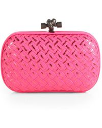 Bottega Veneta Woven Metallic Mini Knot Clutch - Lyst