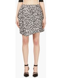 Mugler Black and White Leopard Jacquard Skirt - Lyst
