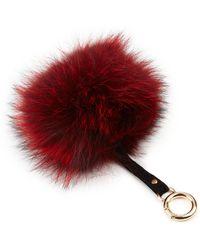 Adrienne Landau Fox Fur Pom-Pom Keychain red - Lyst