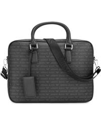 Armani Jeans - Black Monogrammed Faux Leather Briefcase - Lyst