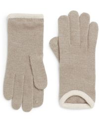 Saks Fifth Avenue Black Label Rib-trimmed Knit Gloves - Lyst