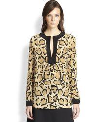 Gucci Leopard Print Silk Top - Lyst