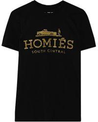 Brian Lichtenberg - Homiés South Central Glitter-printed Cotton T-shirt - Lyst