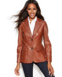 Jones New York Seamed Leather Blazer - Lyst