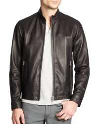 Theory Morveck Leather Bomber Jacket - Lyst