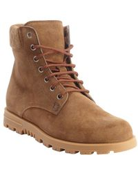 Gucci Brown Suede Ssima Embossed Hiking Boots - Lyst