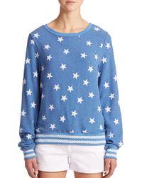 Wildfox Star-Print Pullover blue - Lyst