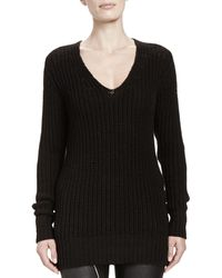 Rick Owens Maglia Wool V-Neck Long Sweater - Lyst