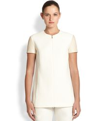Jason Wu Leather-sleeve Zip-front Top - Lyst