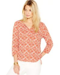 Lucky Brand Jeans Three-Quarter-Sleeve Printed Top - Lyst