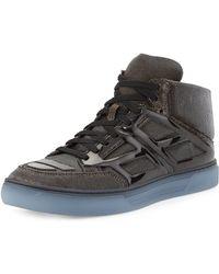 Alejandro Ingelmo Iridescent Mesh Hightop Sneaker Gold - Lyst