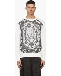 Alexander McQueen Cream Skull Lace Embroidered T_shirt - Lyst