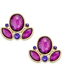 Style & Co. - Gold-tone Amethyst Stone Winged Stud Earrings - Lyst