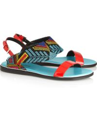 Nicholas Kirkwood Mexican Embroidered Patentleather Sandals - Lyst