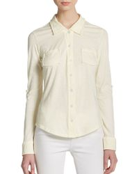 Michael Stars Jersey Button-Front Top - Lyst